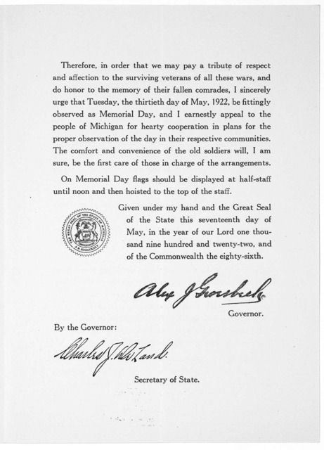 Memorial day May 30, 1922. A proclamation By the Governor. [Lansing, 1922].