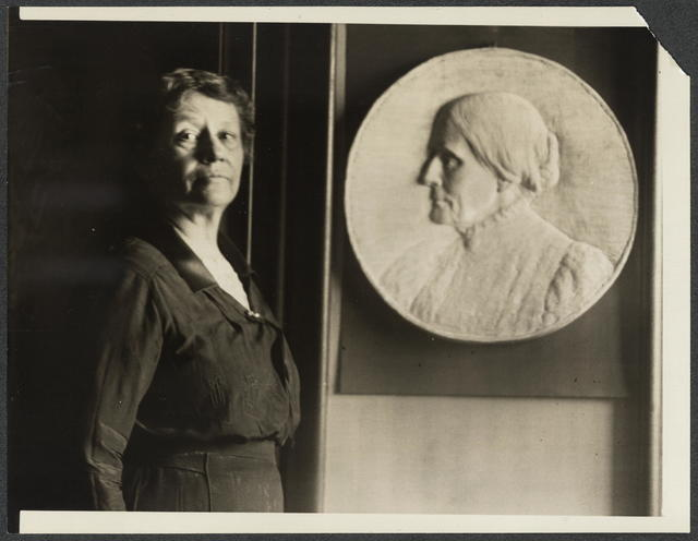 Miss Leila Usher, Sculptress, with bas-relief of Susan B. Anthony