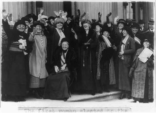 [Mrs. Rebecca L. Felton being greeted by prominent political women in Washington, D.C.]