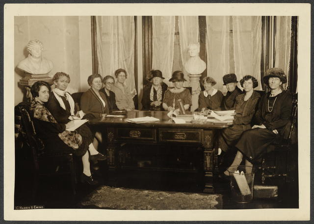 "National Council meeting, ""Old Brick Capitol,"" ca. early 1920s. [L to R] 1. Anita Pollitzer, 2. Florence Bayard Hilles, 3. Margaret Whittemore, 4. Dr. Caroline Spencer, 5. Mrs. Harvey W. 'Wiley, 6. Mrs. Wm. Kent, 7. Maude Younger, 8. Mabel Vernon, 9. Mrs. Richard Wainwright, 10. Alice Paul, 11. Edith Hooker."