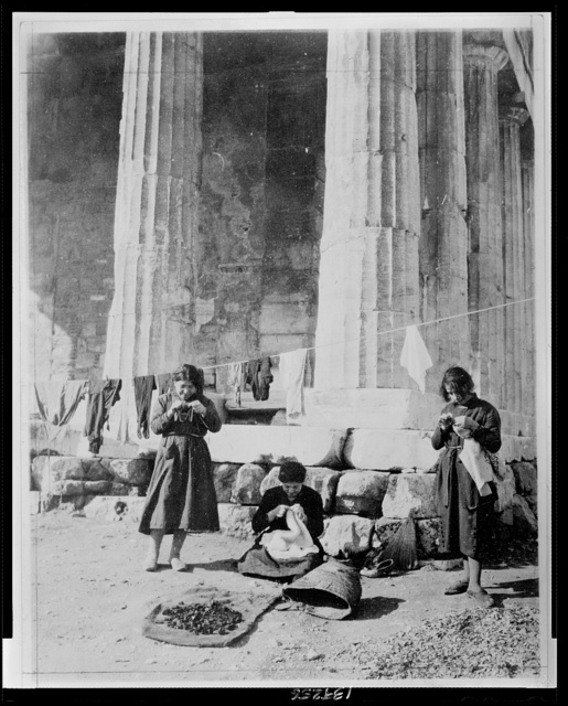 Refugees in front of the ruins of the temple of Thesus [i.e. Theseus]