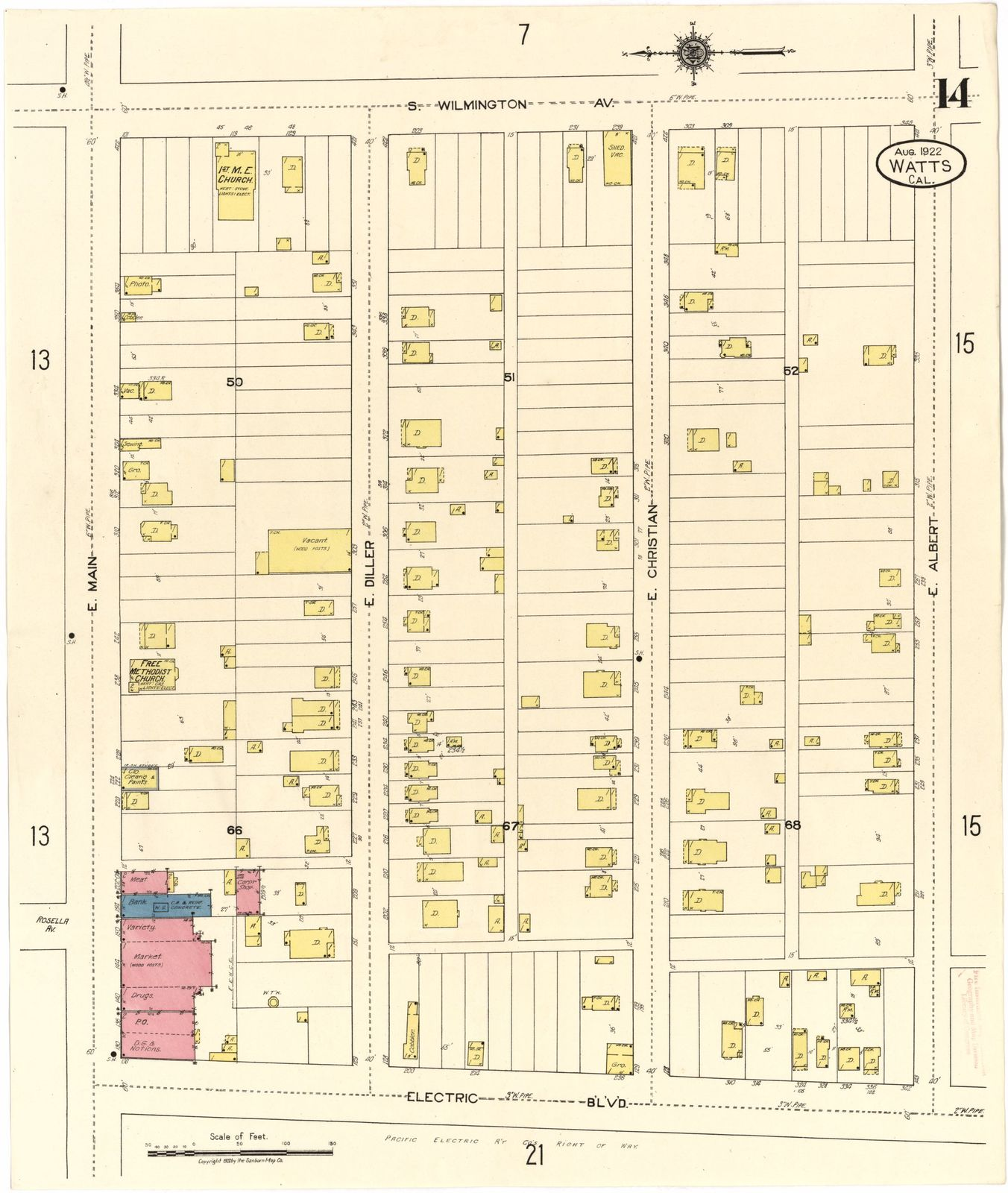 Sanborn Fire Insurance Map from Watts, Los Angeles County, California.