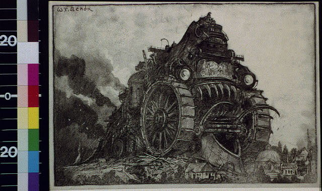 [Smoking monster engine destroying town]