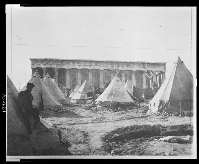 Tent village in the shadows of the Temple of Theseus, Athens, where Greek refugees make thier [sic] homes