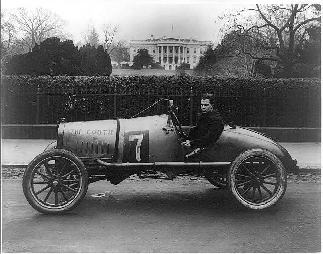 """""""The Cootie,"""" a racing car, parked near the White House in Washington, D.C."""