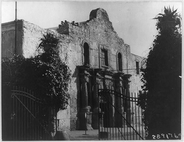 The front of the Alamo through the compound gate, San Antonio, Texas