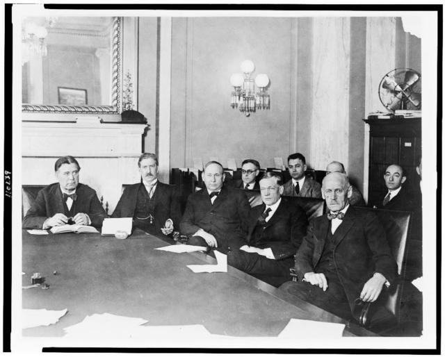 The Senate committee investigating the charges against Senator B.K. Wheeler, ... Left to right: Senators Wm. E. Borah of Idaho chairman, C.A. Swanson of Va., T.H. Caraway of Ark., C.L. McNary of Ore., Thos. Sterling, of S.D.