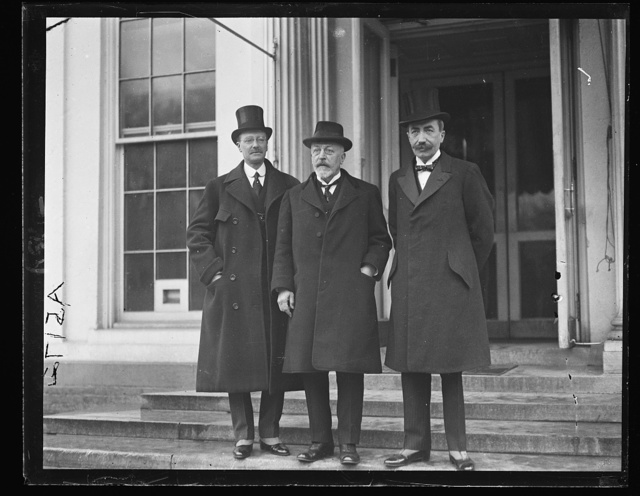 The Senator Albert LeJeune of Belgium, Prof. Pirenne, Historian of Univ. of Belgium and Baron de Cartier de Marchienne, Belgian Amb., call at White House