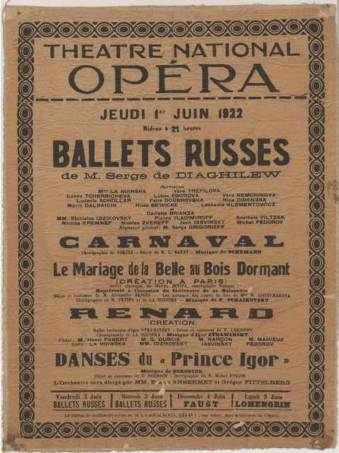 Poster of Ballets Russes, June 1922