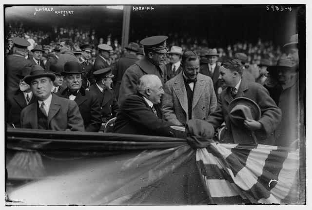 [Albert D. Lasker (advertising genius), Jacob Ruppert (owner of New York AL), President Warren Harding at Yankee Stadium 4/24/1923 (baseball)]