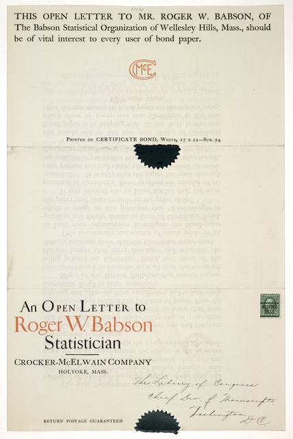 An open letter to Roger W. Babson statistician who uses certificate bond ... Crocker-McElwain company. Holyoke, Mass. [1923].