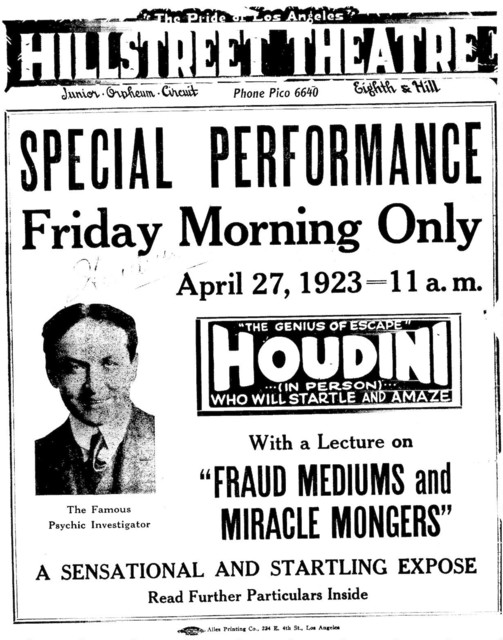 Announcement of Orpheum Circuit Houdini lecture about mediums, April 27, 1923