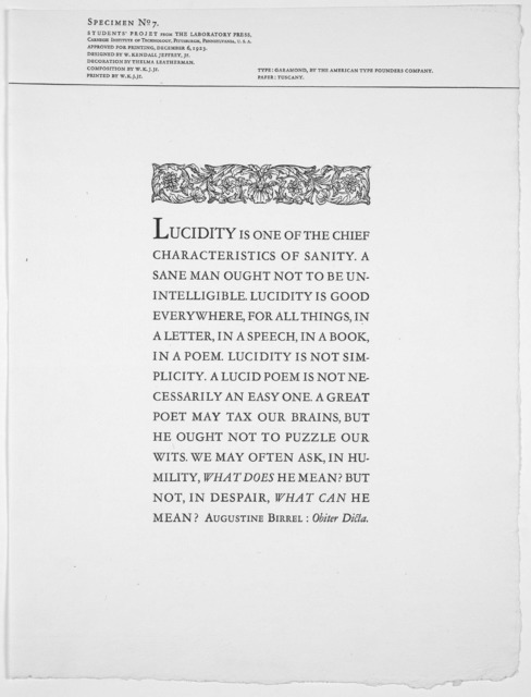 [Collection of 13 poetry broadsides from the Laboratory Press of the Carnegie Institute of Technology, Pittsburgh, Pennsylvania.]