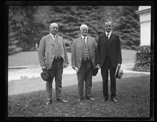 Committee from Nat'l Industrial Traffic League. L to r: Jos. H. Beek, J.M. Belleville, R.C. Fulbright [...]