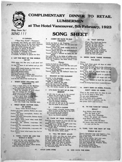 Complimentary dinner to retail lumber-men at the Hotel Vancouver, 5th February, 1923. Song sheet. [n. p.] 1923.