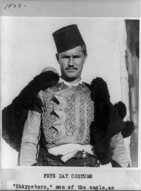 "Fete day costume, ""Shkypetars,"" men of the eagle, as Albanians are known in their own country ..."