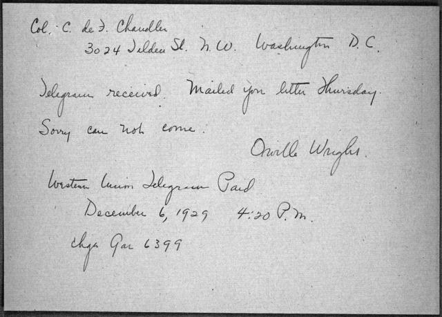 General Correspondence:  Chandler, Charles DeForest, 1923-1939, undated