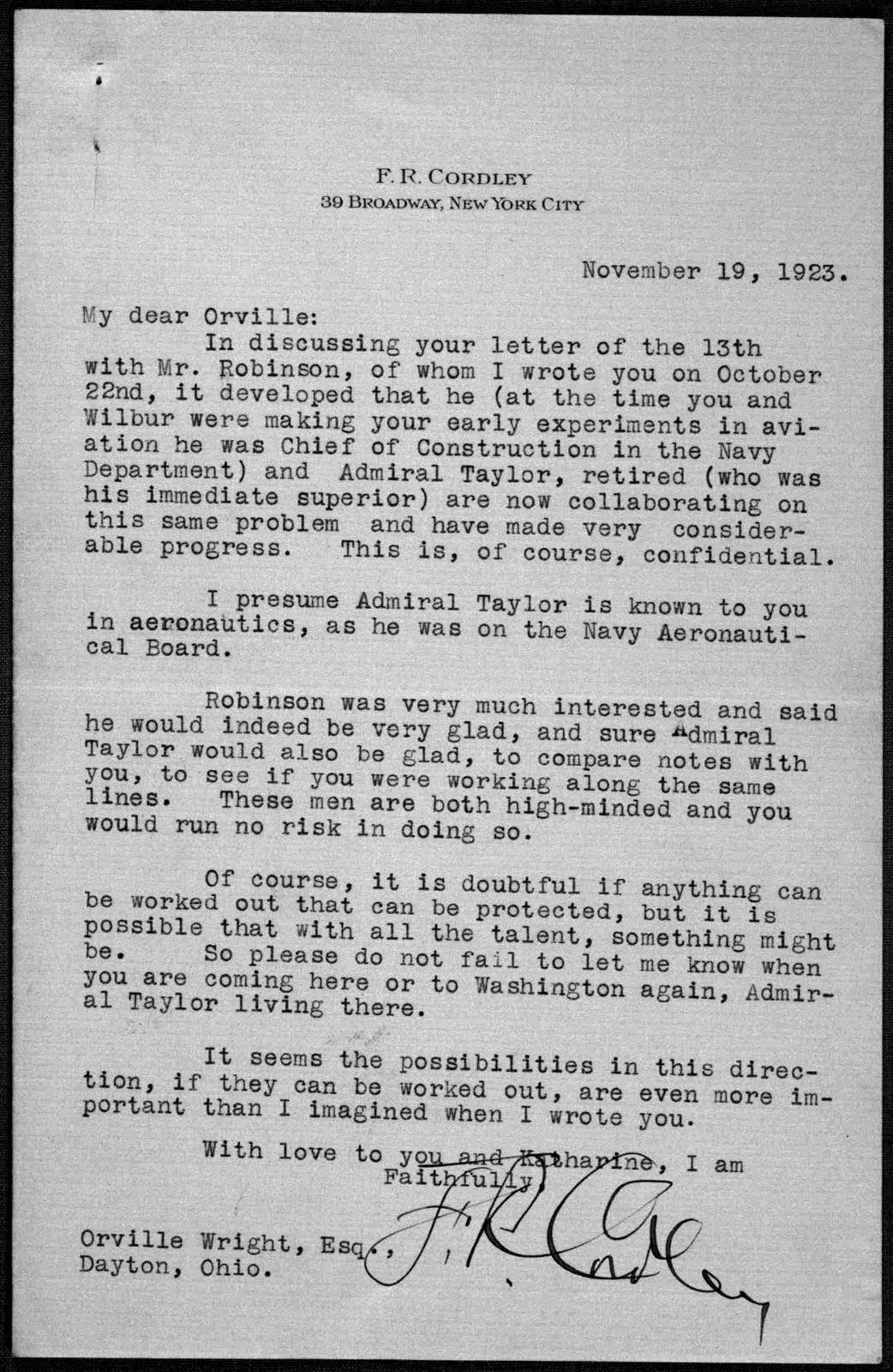 General Correspondence:  Cordley, Frank R., 1923-1939, undated