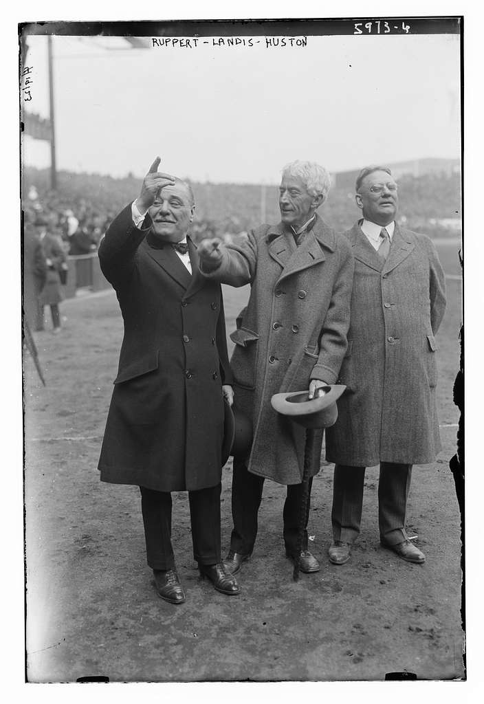 Jacob Ruppert, Judge Kenesaw M. Landis, Tillinghast Huston, at Yankee Stadium, 41823 (baseball)