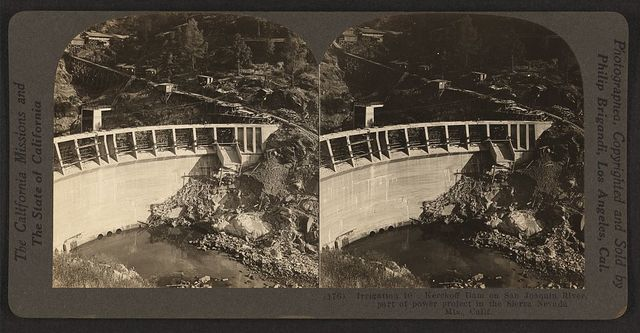 Kerckoff Dam on San Joaquin River, part of power project in the Sierra Nevada Mts., Calif. / photographed, copyrighted and sold by Philip Brigandi, Los Angeles, Cal.