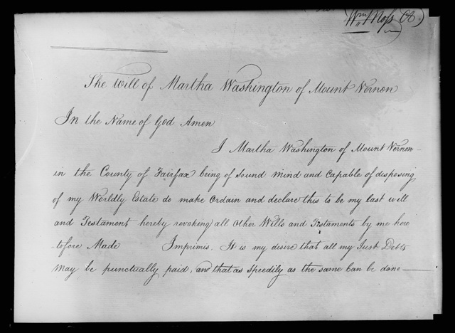 Martha Washington's will. First page of will as it appears in record
