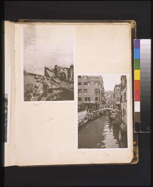 [Men carrying coal in boats, Malta] [Bridge over a canal and buildings, Venice]