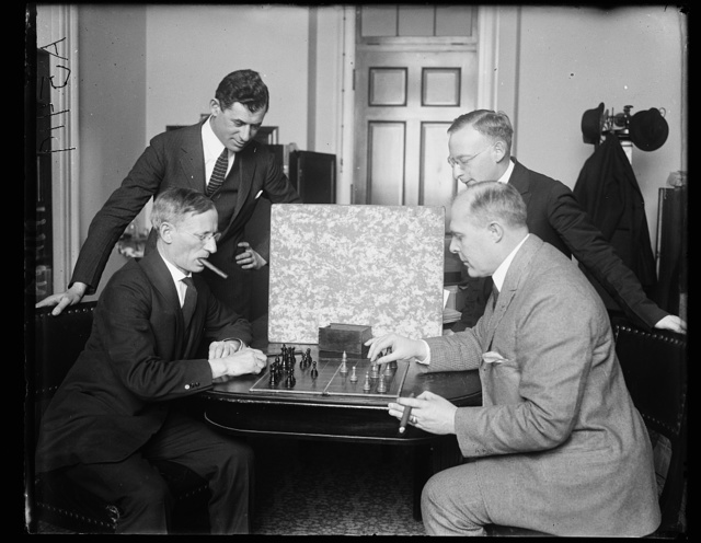 Meyer London of N.Y. playing chess