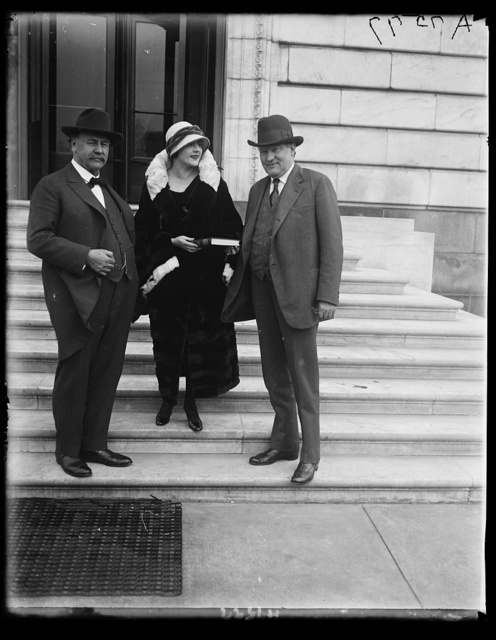 "Miss Jane Thomas leading in the ""Hoosier Schoolmaster"" which will have its initial performance at the Willard before the Indiana State Society. With James Watson, rt., and Samuel Ralston, Senators from Indiana"