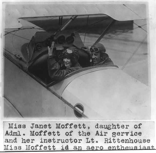 Miss Janet Moffett, daughter of Adm. [William Adger] Moffett of the Air Service, and her instructor Lt. Rittenhouse [in cockpit of plane]