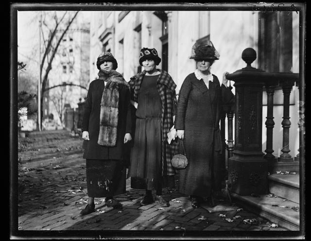 Mrs. Hortense Russell, left, of San Francisco, Miss Lucy Branham, Wash., D.C. and Mrs. John Jay White, of N.Y., who will lead the delegation to interview Pres. Coolidge on Nov. 17