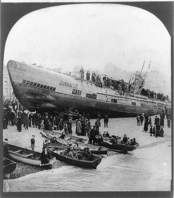 One of the notorious U-boats stranded on the south coast of England after surrender