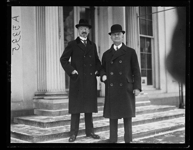 Otto H. Wiedfelt, German ambassador (left) with Count Hugo Terchenfeld, former Prime Minister of Bavaria, at White House]