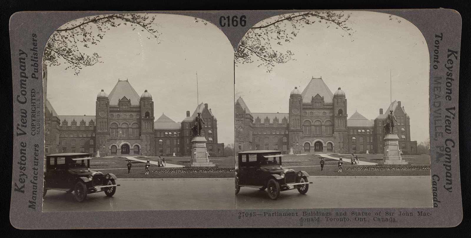 Parliament buildings and statue of Sir John Macdonald, Toronto, Ont., Canada