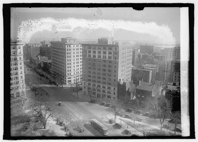 [Powhatan Hotel, left, and the Hurley-Wright building, right, which housed the Railroad Commission, among other agencies, at the intersection of 18th Street, Pennsylvania Ave., and H. Street, N.W., Washington, D.C.]