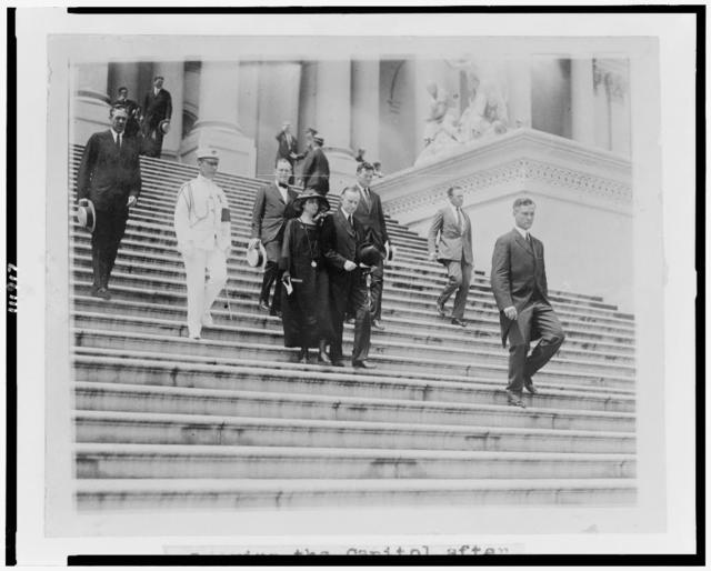 [President and Mrs. Coolidge leaving the Capitol after the funeral of Warren G. Harding]