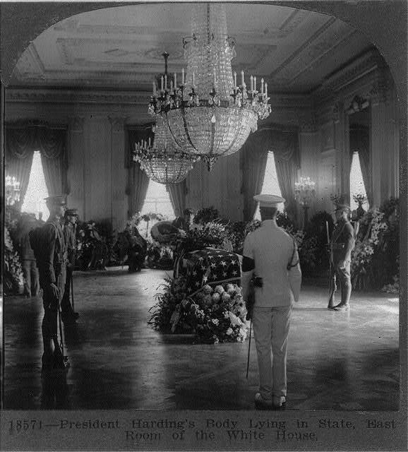 President Harding's body lying in state, East Room of the White House