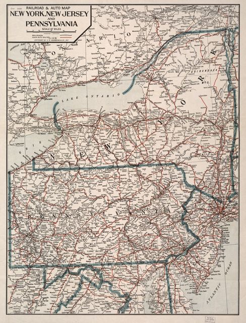 Railroad & auto map, New York, New Jersey and Pennsylvania.