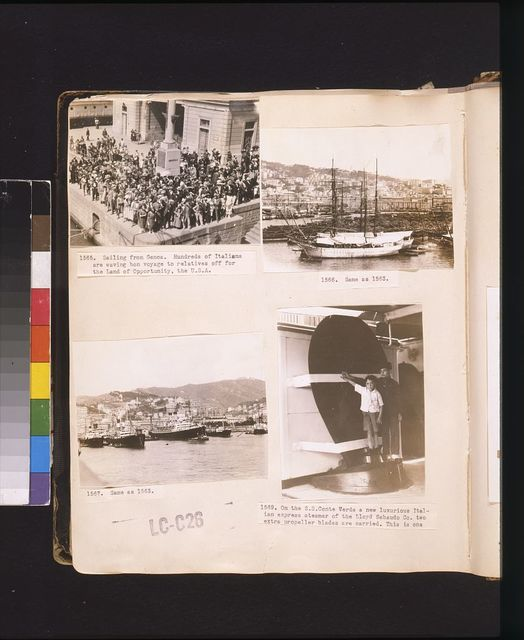 Sailing from Genoa. Hundreds of Italians are waving bon voyage to relatives off to the Land of Opportunity, the U.S.A. The port of Genoa with the city climbing the hillsides to low forts built by Napoleon ; On the S.S. Conte Verde a new luxurious Italian express steamer of the Lloyd Sabaudo Co. two extra propeller blades are carried.  This is one.