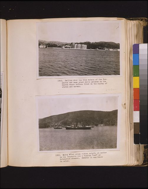 """Sailing over the blue waters of the Bosphorus one sees great white palaces on the shores where Sultans lived in the heyday of harems and slaves Among other ships riding quietly at anchor in the Bosphorus was a Russian """"red"""" or Bolshevick steamer. However it was black in color."""