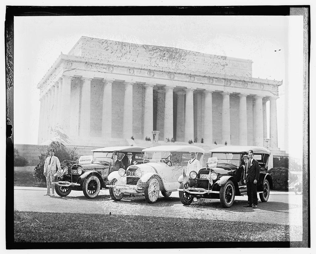 """[Shriner automobiles """"Esten A. Fletcher"""" and """"Frank C. Jones"""" at Lincoln Memorial]"""