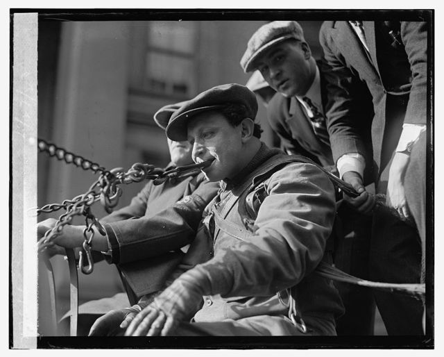 "[Siegmund ""Zishe"" Breitbart, performer/strongman who used his teeth to pull a wagon with 50 persons on board through the streets of Washington, D.C.,] 11/27/23"