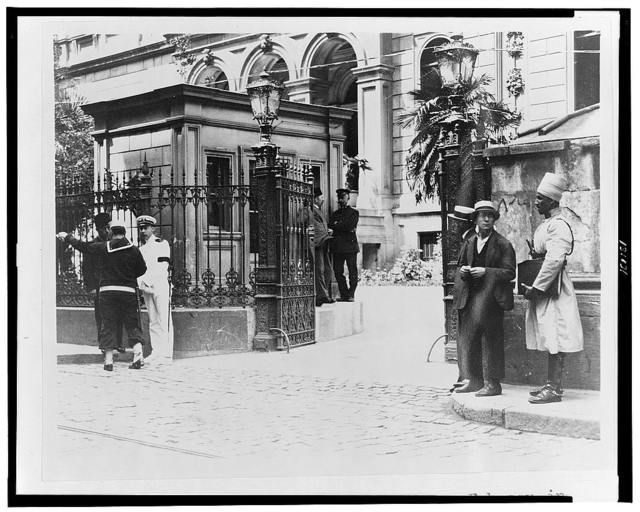 The entrance to the American Embassy in Constantinople--Blue jackets control the traffic on the day of the memorial service to President Harding