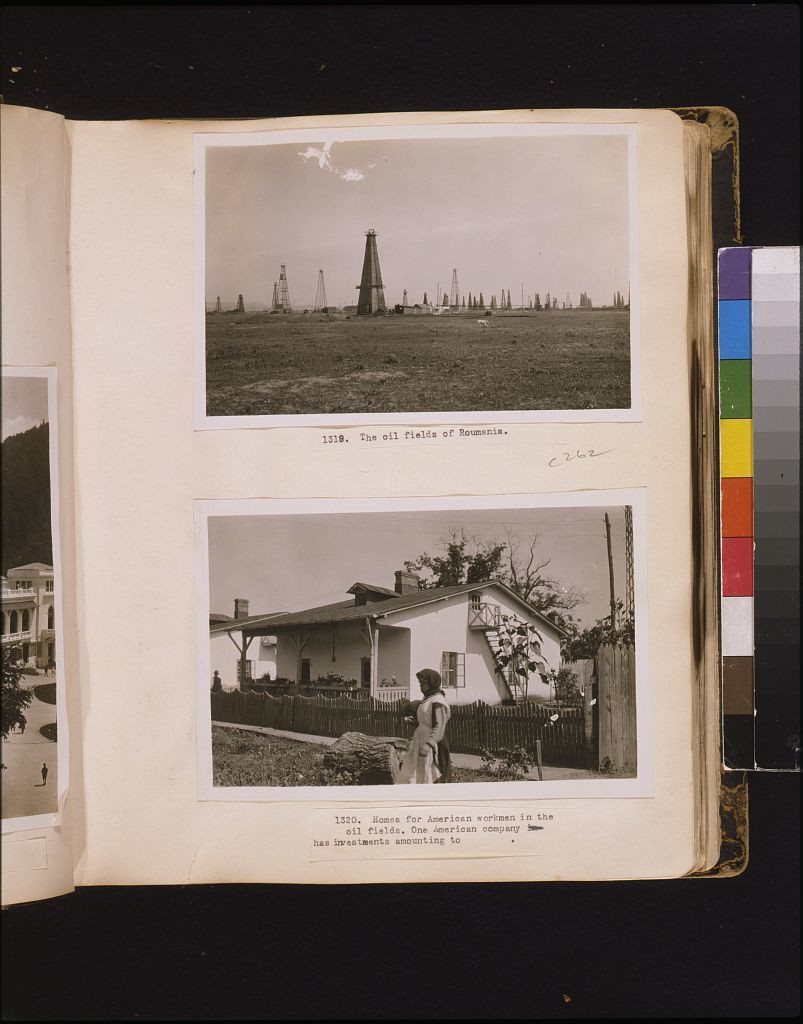 The oil fields of Roumania Homes for American workmen in the oil fields. One American company has investments amounting to [blank].