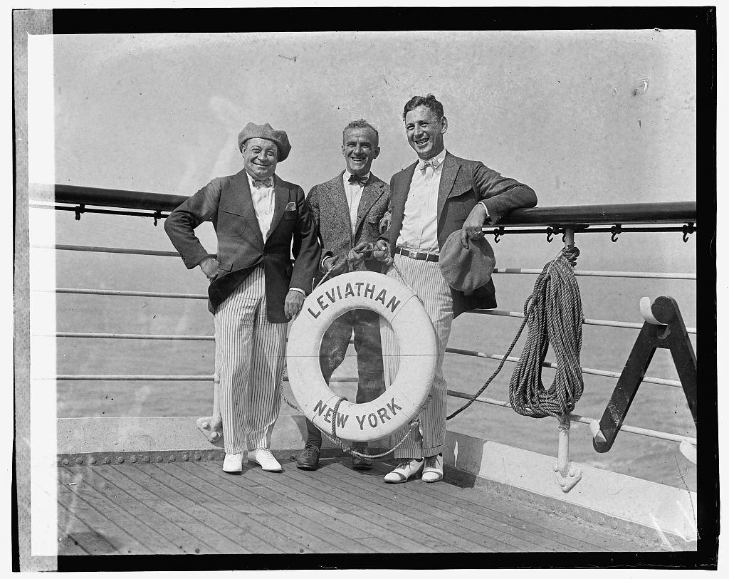"[Three men on ship ""Leviathan, New York""]"