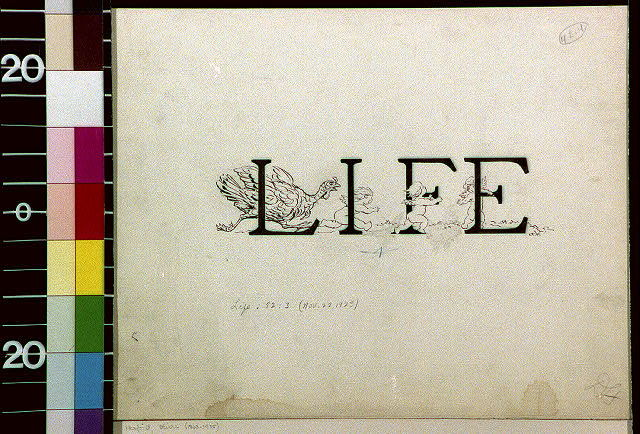 "[Turkey chasing cherubs through the word ""LIFE""]"