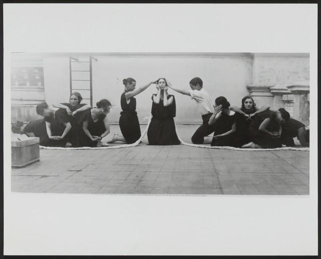 Photograph of Felia Doubrovska (center) as The Bride in a rehearsal of Les Noces, taken on the rooftop of the Theatre de Monte-Carlo, 1923, no photographer