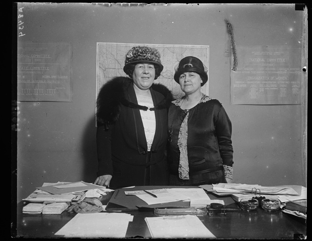 2 women members of the arrangements committee for the Demo. Nat'l Convention in NY, June 24. Left: Mrs. D.A. McDougal, Nat'l Committee woman from Okla. Right: Mrs. Emily Newell Blair, Vice-Chmn. of the Demo. Nat'l Comm.