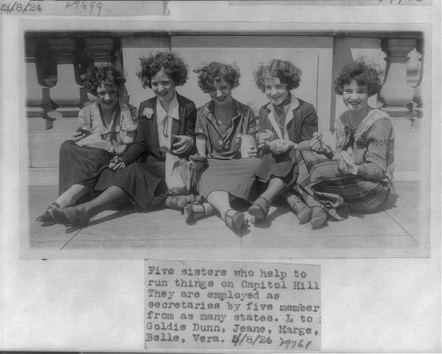 5 sisters who are employed as secretaries to 5 diff. congressmen: Goldie, Jeane, Marge, Belle, and Verna Dunn