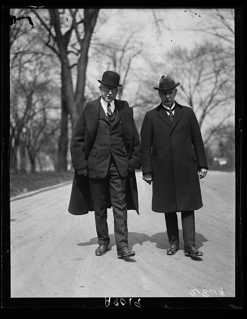 A.A. McGill (left) and D.K. Clink, officers of the Internat'l Federation of Commercial Travelers organizations who called at the White House today. They talked of traveling conditions with Pres. Coolidge