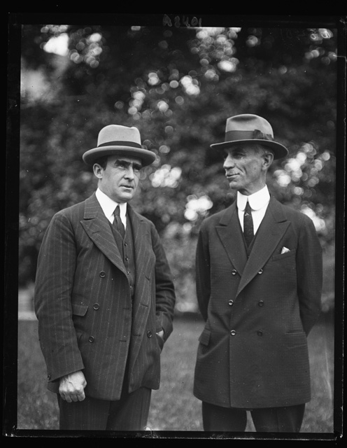 Admiral Cary T. Grayson, left, and M.C. Hazen, who invited Pres. Coolidge to attend the opening of the Nat'l Capitol Horse Show which opens May 16th